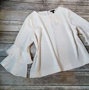 J. Crew Ivory Tier Bell Sleeve Top Size 16